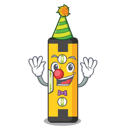 Clown spirit level in a cartoon bag vector illudtration