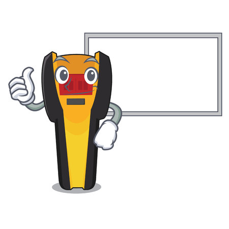 Thumbs up with board stud finder isolated with the character vector illustration