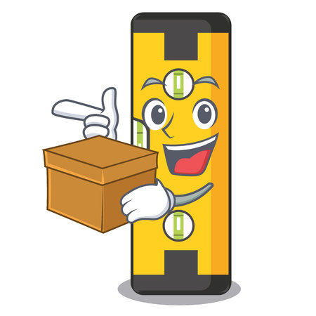 With box spirit level in the mascot shape vector illustration