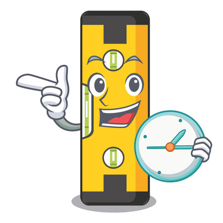 With clock spirit level in the mascot shape vector illustration