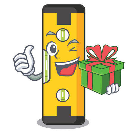 With gift spirit level above wooden table character vector illustration