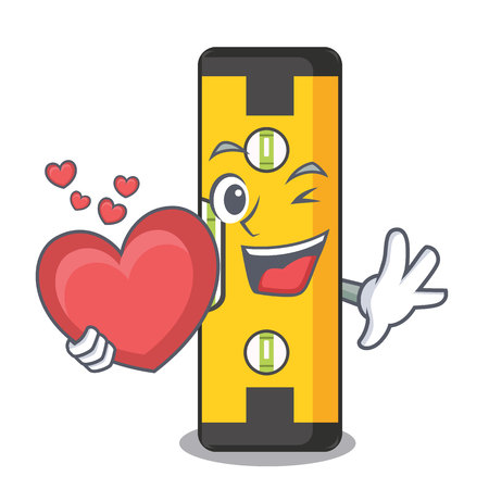 With heart spirit level above wooden table character vector illustration Stock Illustratie