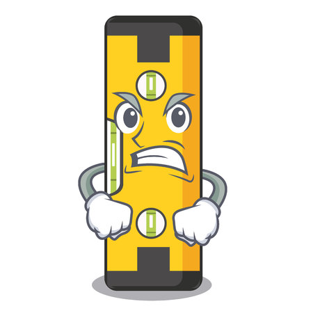 Angry spirit level above wooden table character vector illustration