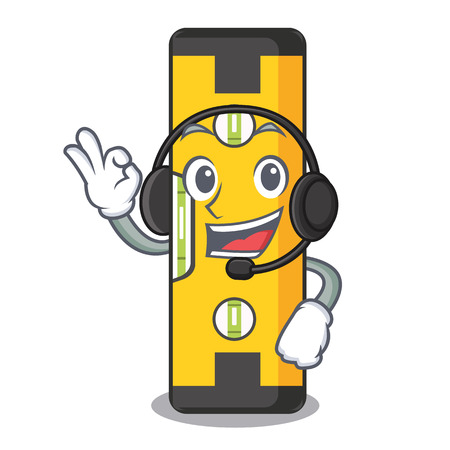 With headphone spirit level in a cartoon bag vector illudtration Illustration