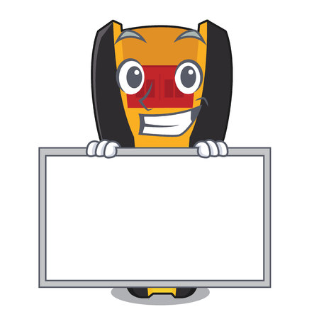 Grinning with board stud finder isolated with the character vector illustration