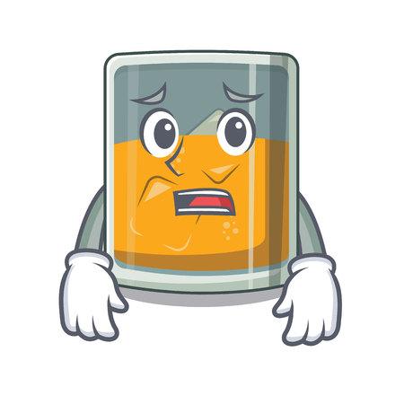 Afraid glass of cartoon whiskey above table Ilustração