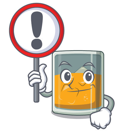 With sign whiskey the in a cartoon glass vector illustration Illustration