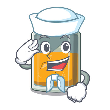 Sailor whiskey the in a cartoon glass vector illustration Illustration