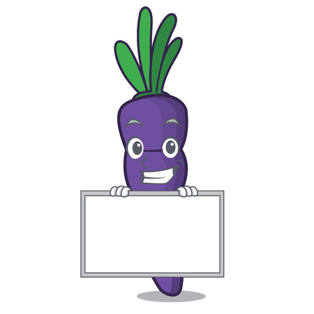 Grinning with board purple carrots isolated with the mascot vector illustration