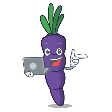 With laptop purple carrots isolated with the mascot vector illustration