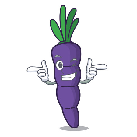 Wink purple carrot in a cartoon basket vector illustration
