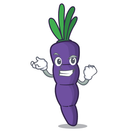 Successful purple carrot in a cartoon basket vector illustration