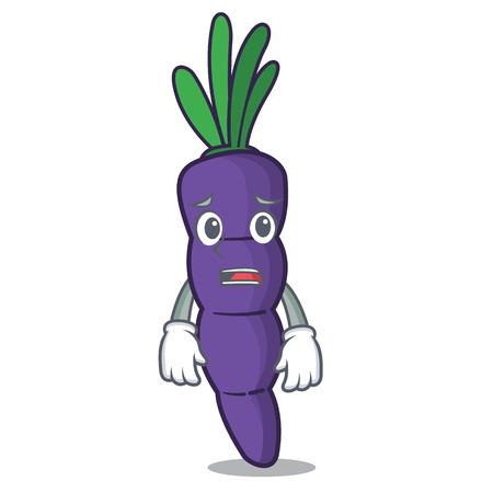 Afraid purple carrots in the character shape vector illustration Ilustração