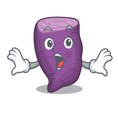 Surprised purple sweet potato in mascot basket vector illustration