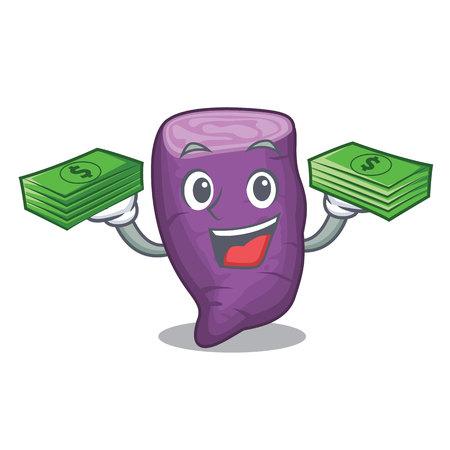 With money purple sweet potato in mascot basket