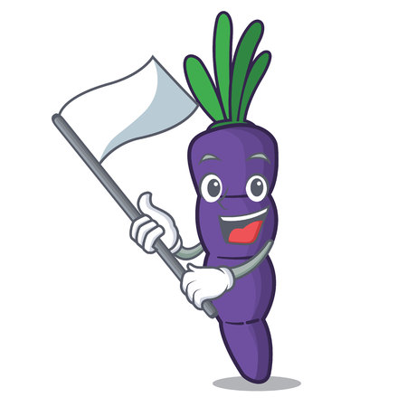 With flag purple carrot slices in cartoon shape