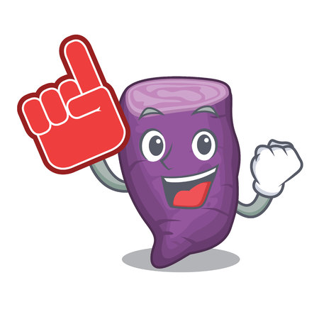 Foam finger purple sweet potato in cartoon fridge vector illustration