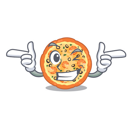 Wink seafood pizza isolated with in cartoon vector illustration