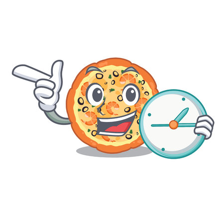 With clock seafood pizza isolated with in cartoon vector illustration