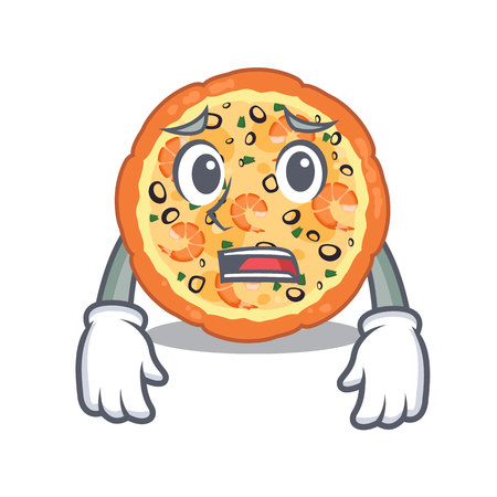 Afraid seafood pizza in the mascot shape
