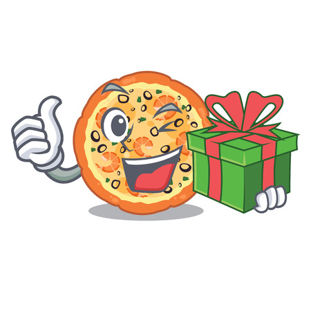 With gift seafood pizza in the mascot shape vector illustration