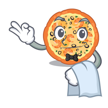 Waiter seafood pizza in the mascot shape vector illustration 向量圖像