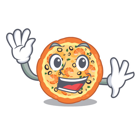 Waving seafood pizza isolated with in cartoon