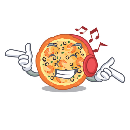 Listening music seafood pizza in the mascot shape