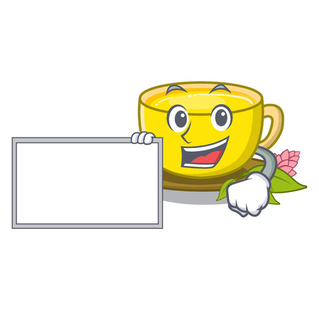 With board turmeric tea isolated in the character vector illustration