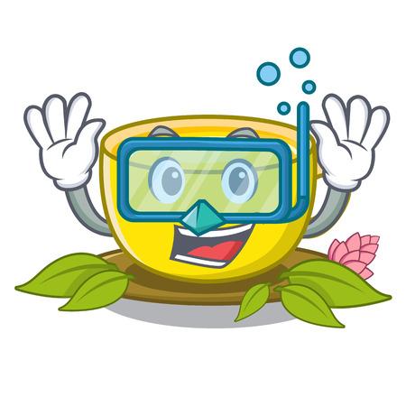 Diving tea turmeric in the cartoon glasses vector illustration