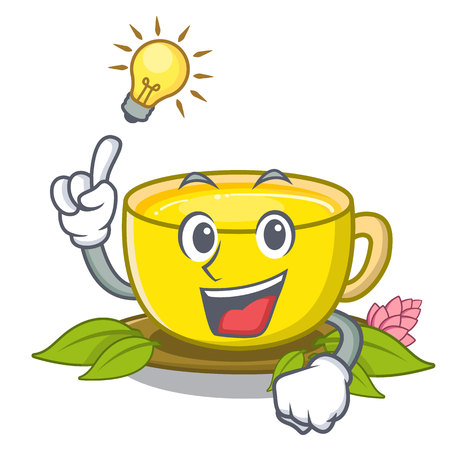 Have an idea turmeric tea above mascot wood table vector illustrtaion