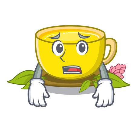 Afraid turmeric tea in the cartoon shape vector illustration Ilustração
