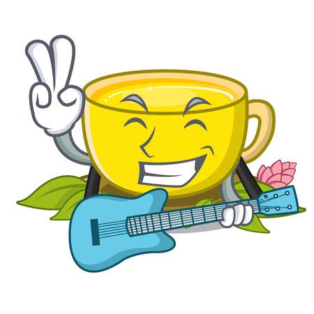 With guitar turmeric tea in the cartoon shape vector illustration Illusztráció
