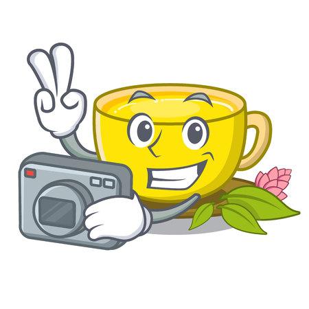 Photographer turmeric tea in the cartoon shape vector illustration Illusztráció