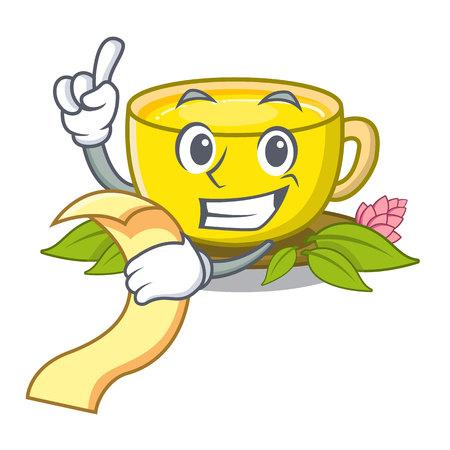 With menu turmeric tea in the cartoon shape Standard-Bild - 122143479