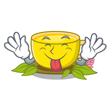 Tongue out turmeric tea above mascot wood table vector illustrtaion Illustration