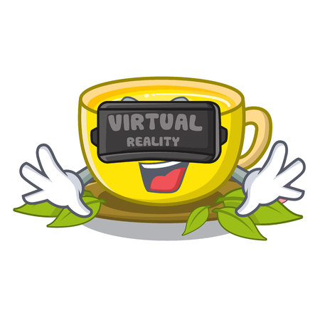 Virtual reality turmeric tea in the cartoon shape vector illustration Standard-Bild - 122413050