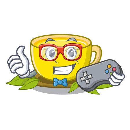 Gamer turmeric tea in the cartoon shape vector illustration