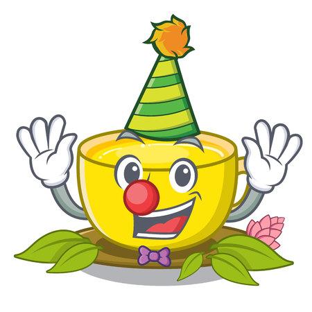 Clown turmeric tea above mascot wood table vector illustrtaion