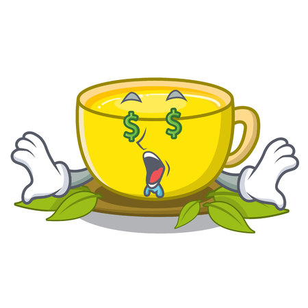 Money eye turmeric tea above mascot wood table vector illustrtaion