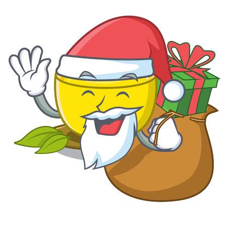 Santa with gift turmeric tea above mascot wood table vector illustrtaion
