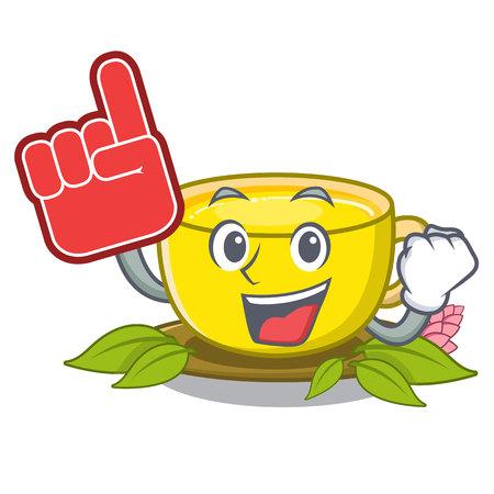 Foam finger turmeric tea above mascot wood table vector illustrtaion