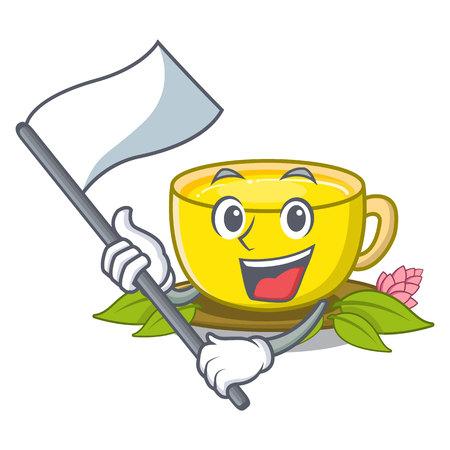 With flag turmeric tea above mascot wood table vector illustrtaion Illustration