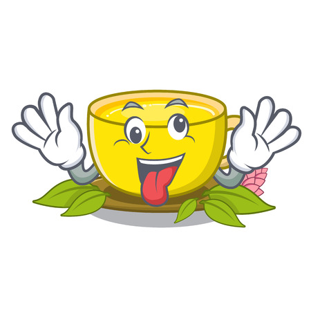 Crazy turmeric tea above mascot wood table vector illustrtaion