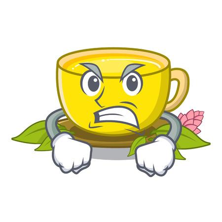 Angry turmeric tea in the cartoon shape vector illustration