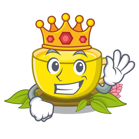 King turmeric tea above mascot wood table Illustration