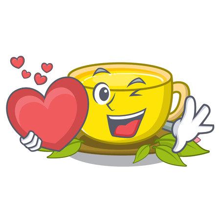 With heart turmeric tea in the cartoon shape vector illustration Illusztráció