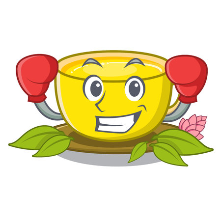 Boxing turmeric tea isolated in the character vector illustration