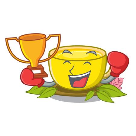 Boxing winner turmeric tea above mascot wood table vector illustrtaion Illustration