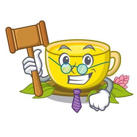 Judge turmeric tea above mascot wood table vector illustrtaion